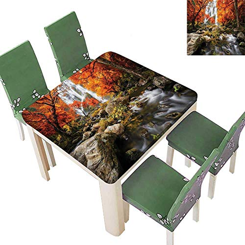 (Printsonne Polyester Tablecloths Trees ic Thai Waterfall and River Park in The Autumn for Indoor and Outdoor Use 50 x 50)