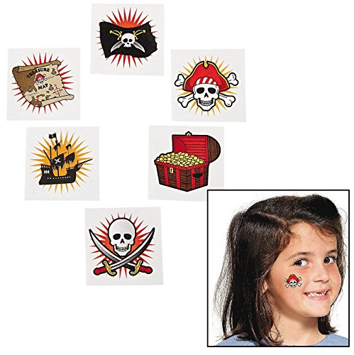 Fun Express Pirate Temporary Tattoos. (72 piece.) Safe and non-toxic. (Super Easy Fast Halloween Costumes)