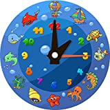 Sea Animal Clock Cartoon Home Decal Vinyl Sticker 12'' X 12''