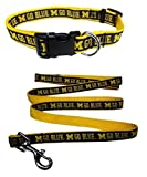 Michigan Wolverines Nylon Collar and Matching Nylon Leash for Pets (NCAA Official by Pets First) Size Medium
