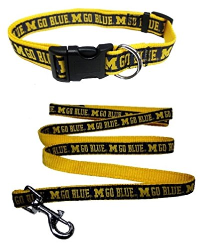 Michigan Wolverines Nylon Collar and Matching Nylon Leash for Pets (NCAA Official by Pets First) Size Medium by Pets First