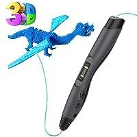 Stylo 3D, Tecboss 3D Pen Créatif Avec Écran LCD, 8 Vitesses Réglables Stylos d'Impression 3d Compatible PLA/ABS Filament Stylo 3D, Le Cadeau Idéal Pour Les Enfants, Noir