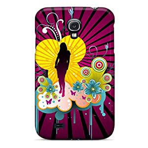 Premium Beautiful Girl Vector Back Cover Snap On Case For Galaxy S4