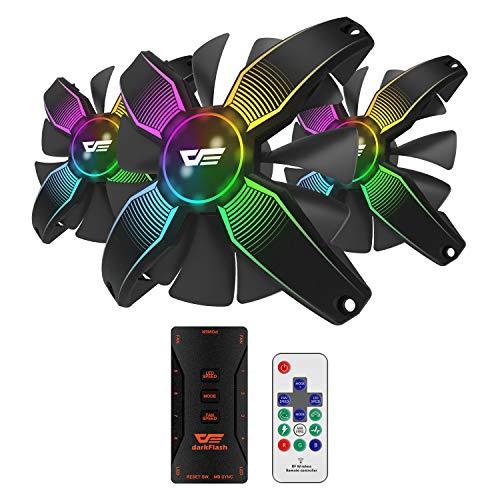 darkFlash 120mm RGB LED Case Fan for PC Cases CPU Cooling Fan Water Cooling Fan Addressable RGB Case Fan (Talon PRO 3IN1)