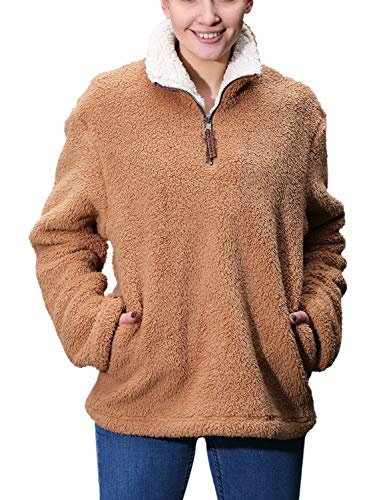 Fleece Sherpa Pullover Womens Sweatshirt Long Sleeve Soft Fuzzy Outwear Sweater Jacket 1/4 Zip Hoodie Coat with Pockets Brown S ()