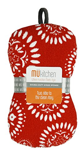 - MUkitchen Microfiber Sponge with Scrubber,  Medallion Red - Set of 2