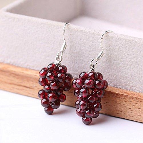 (usongs East China Sea natural crystal garnet grape-shaped earrings Earrings with 925 white fungus hook)