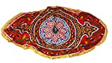 Egypt gift shops Oval Exotic Lotus Traditional Arabic Textile Sheet Tribal Khayamiya Ramadan Display Showroom Fabric Table Topper Wall Decor Party Cover Fringes
