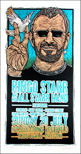 Band Gig Posters - Ringo Starr & Hs All-Starr Band Original Concert Gig Poster SN Gary Houston