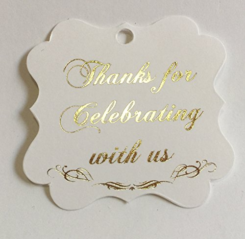 Thank You Tags Gold, Fancy Frame Gift Tags Gold Foil - 30 Pack- Wedding Party Collection, Thanks for Celebrating with Us (Tags Frame 3) ()