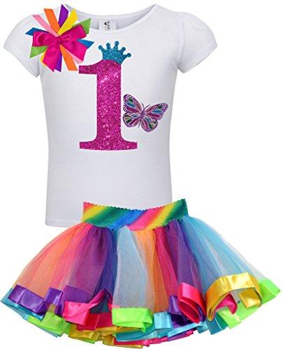 Bubblegum Divas Baby Girls 1st Birthday Rainbow Princess Butterfly Tutu Outfit 3 -