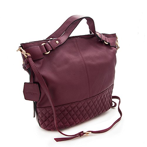 12x11x4 Handbag Multiple Bags Shoulder Women's High Big Zerimar Handbag in Size Handbag Hobos compartments Burdeos Leather 100 Small Quality Women's and tZw6wqU