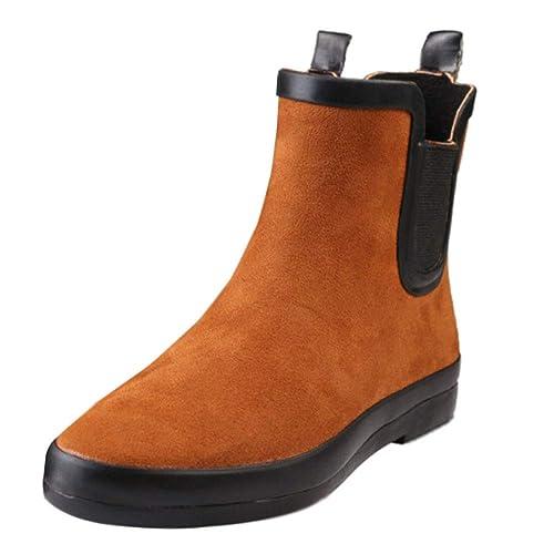 Yudesun Mujer Botas de Agua - Botines Chelsea Seguridad Calzado de Trabajo Zapatos de Lluvia Altura del Tobillo Calentar Forrado de Piel Fácil de Limpiar ...