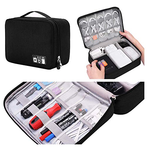 Travel Electronics Accessories Organizer Bag, Waterproof Cable Organizer Bag with 3 Removable Dividers, Padded Gadget Carrying Case for Cables, Portable Chargers, Electronics Adapters