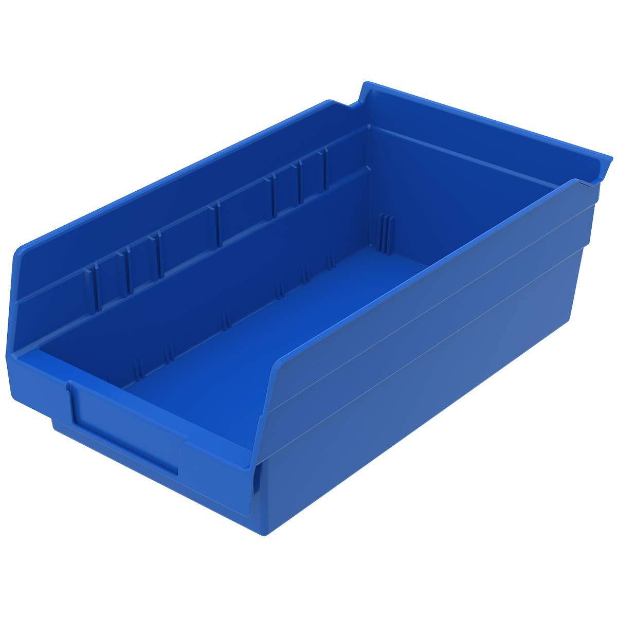 Akro-Mils 30130 12-Inch by 6-Inch by 4-Inch Plastic Nesting Shelf Bin Box, Blue, 12 Pack by Akro-Mils