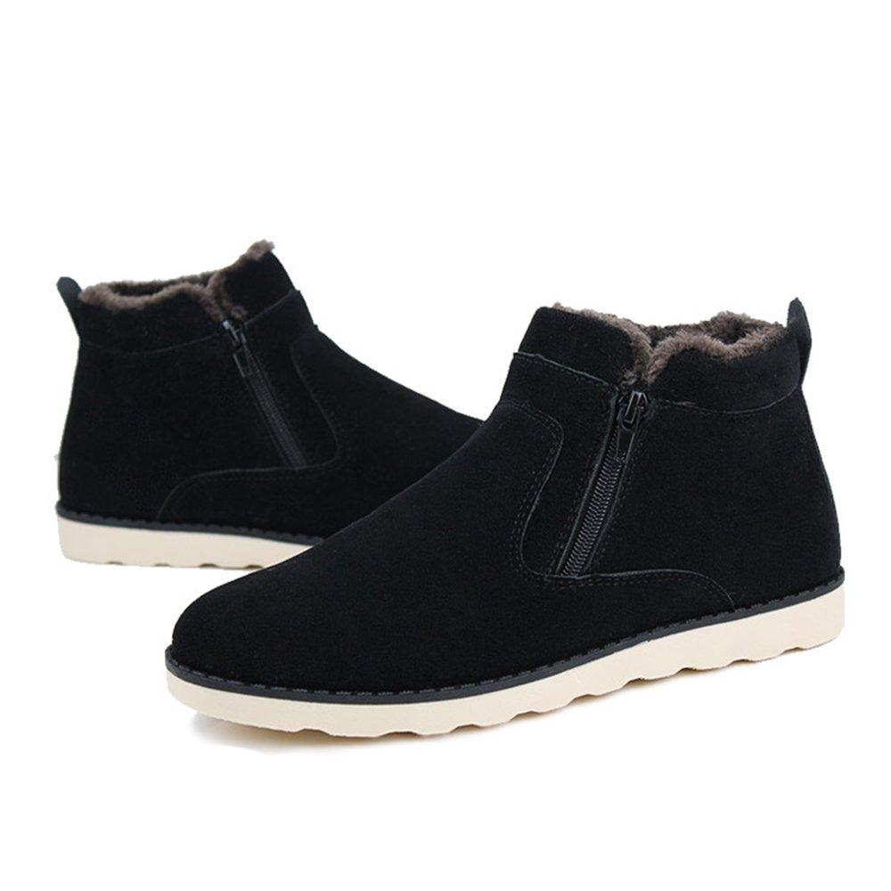 XIANV Hombres Zapatos Botas de nieve de moda Nuevo invierno casual Botines  cálidos Zapatos de piel de invierno Calzado de cuero Negro 0c0c662f40f