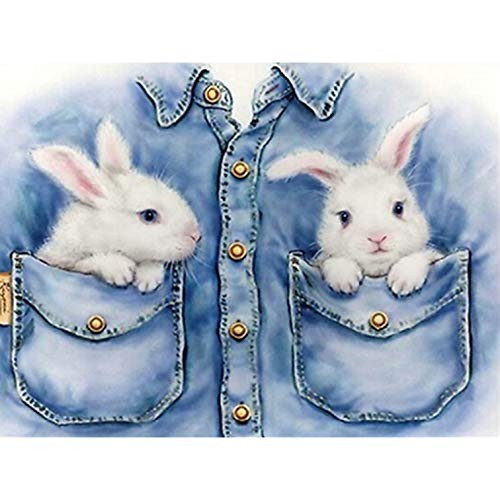 5D Diamond Painting by Number Kits New DIY Full Drill Diamond Painting Kit for Adults Cross Stitch Embroidery Arts Christmas Gifts (Rabbit, 40X30) -