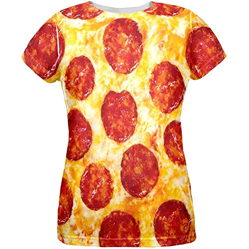 Pepperoni Pizza Costume All Over Womens T-Shirt - Small (Womens Pizza Costume)