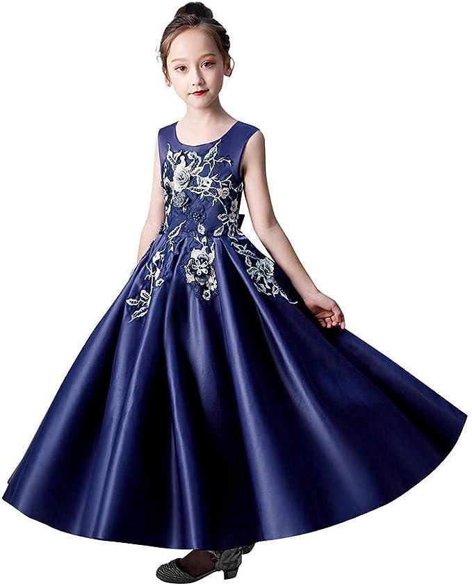 VJGOAL Vestidos de Princesa para niñas sin Mangas Bordado de Flores Vestido de Fiesta de tutú con Cuentas Vestido de Boda de cumpleaños Vestido Formal: Amazon.es: Ropa y accesorios