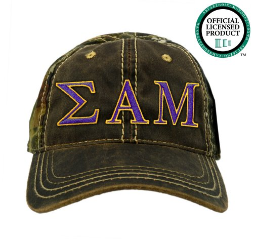 Sigma Alpha Mu (Sammy) Embroidered Camo Baseball Hat, Various Colors