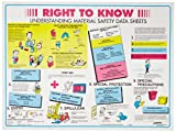 """Brady 53200 18"""" Height, 24"""" Width, Laminated Paper, Black, Red, Blue And Yellow On White Color Right-To-Know Poster-English, Legend """"Right To Know Understanding Material Safety Data Sheets..."""""""