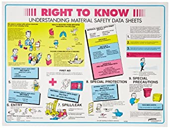 "Brady 53200 18"" Height, 24"" Width, Laminated Paper, Black, Red, Blue And Yellow On White Color Right-To-Know Poster-English, Legend ""Right To Know Understanding Material Safety Data Sheets..."""