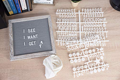 Felt Letter Board - Changeable Letter Board with Wooden Easel Stand, Pouch, Scissors, 375 Plastic Letters, Numbers, and Emoji Symbols for Message Display, Office Sign, Decoration, Grey, 10 x 10 Inches by Juvale (Image #1)