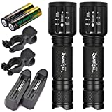 Nibito New 2 x Tactical Flashlight skywolfeye T6 High Powered 5Modes Zoom Aluminum+Battery (Black)