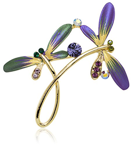 Akianna Hand Painted Swarovski Element Dragonfly Brooch Pin Purple ()