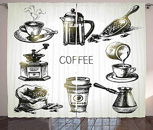 LQQBSTORAGE Coffee Curtains,Brewing Equipment Doodle Sketch Grinder French Press Plastic Cup Scoop Vintage for Bedroom Grommets Window Curtain Panels 2 Panel Set W84 x L96/Pair Black Yellow