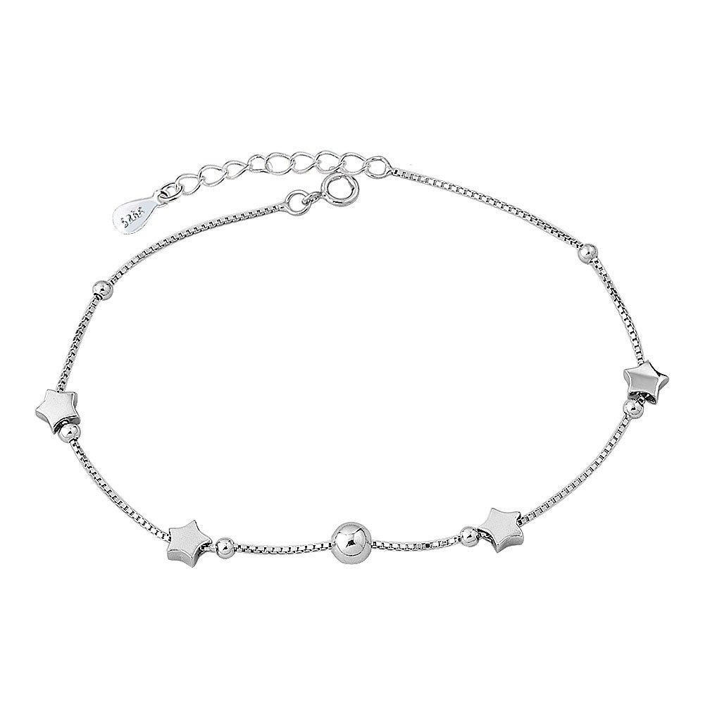 Casa De Novia Jewelry for Women Girl 925 Sterling Silver Beach Star Bracelet Ankle Summer Anklet Adjustable