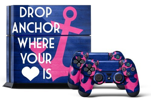 PS4 Console Designer Skin for Sony PlayStation 4 System plus Two(2) Decals for: PS4 Dualshock Controller Anchor by 247Skins (Best Selling Next Gen Console)