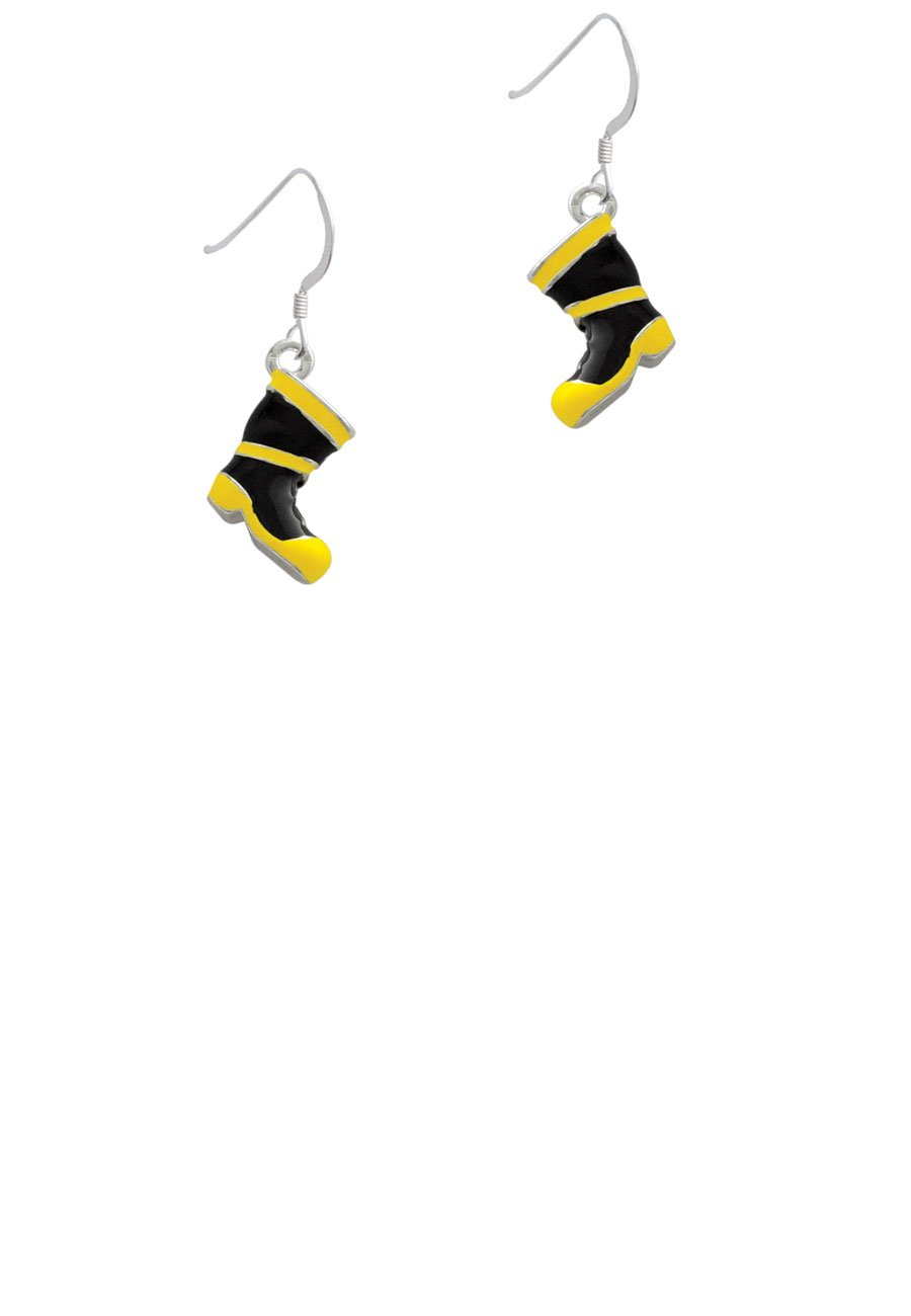 Black and Yellow Firefighter Boot - French Earrings