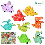 Akamino Dinosaurs Toys Car for Kids, 8 Pack Pull Back Car Toys for Boy & Girl, Baby Toy Car for Kids, Animal Vehicles Party Favors Festival Birthday Gift