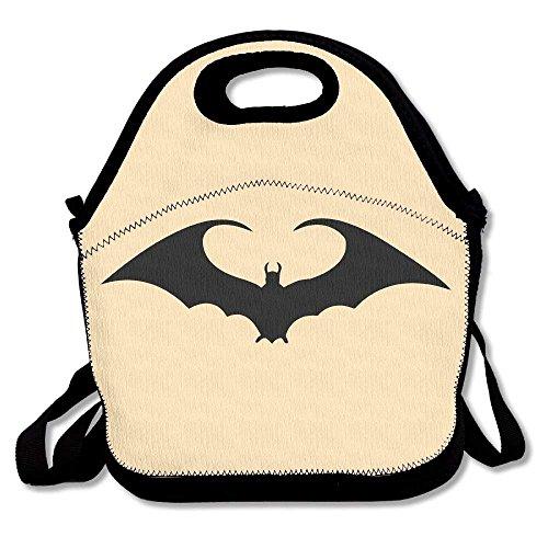 GoldBaoWang Halloween Bat Neoprene Lunch Picnic Bag Insulated Lunch Box Waterproof Lunch Tote with Zipper Strap for Women Kids Boys Girls and -