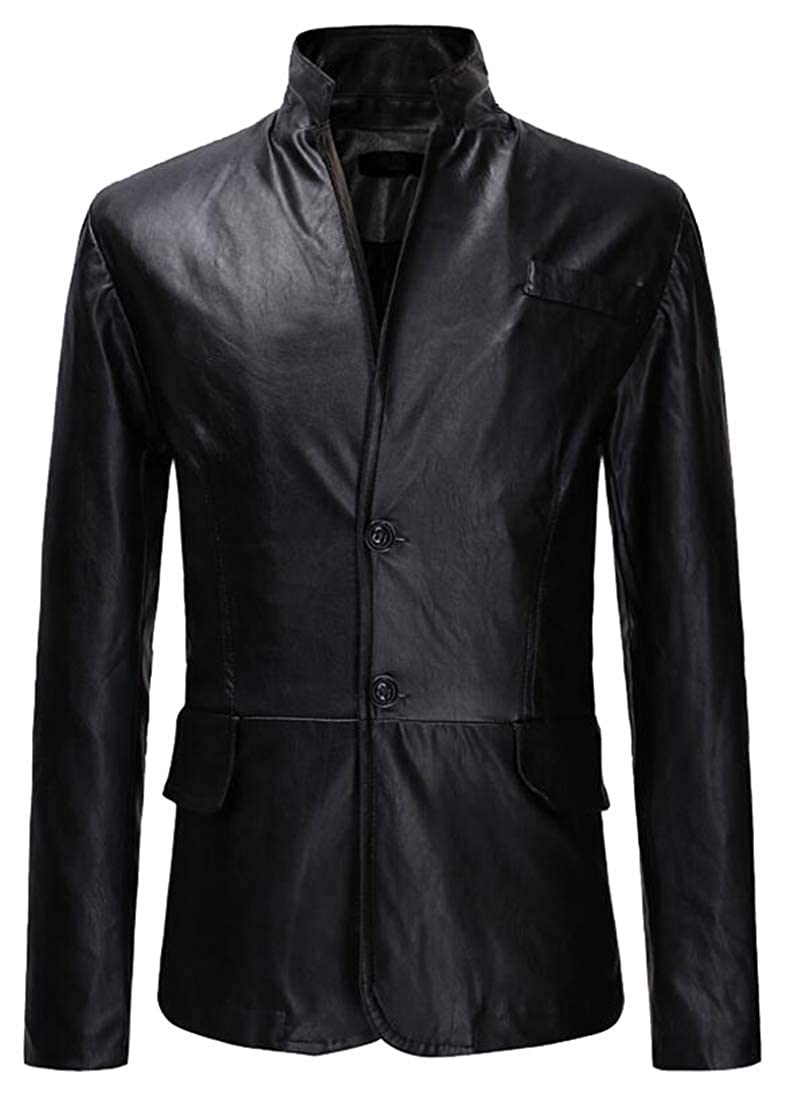 Black Esast Men's Leather Bomber Jacket with Faux Fur Shearling Fleece Hooded Coat