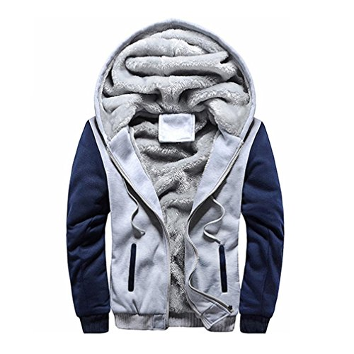 (USHOT Men's Pullover Winter Jackets Hooed Fleece Hoodies Sweatshirt Wool Warm Thick Coats (Gray, US 8/Asia 2XL))