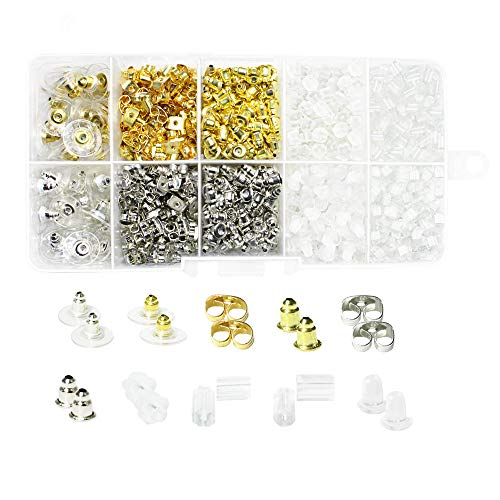 1360pcs Earring Backs, Premium Clutch Safety Earring Pad Including Styles of Clips Bullet Butterfly Metal Rubber Plastic, Clear Bullet Stopper Replacement Jewelry ()