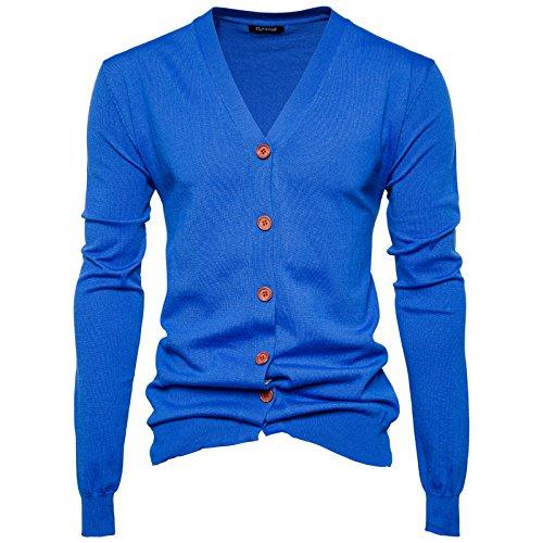 Couleur Coton Col Homme Chandail Bleu Veste V Cardigan Knit Uni Saphir Moulant Tricot Gilet En Elonglin Décontracté Sweater Garçon Bouton 4T6qYwY