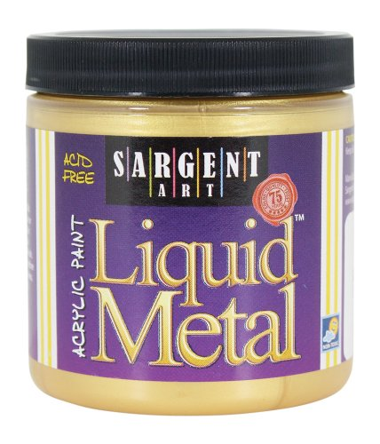 Sargent Art 22-1181 8-Ounce Liquid Metal Acrylic Paint, (Acrylic Gold Jars)