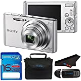 Sony Cyber DSC : W830 Digital Camera (International Version) + Carrying Case + 16gb Memory Card + Microfiber Cloth Bundle … (Silver)