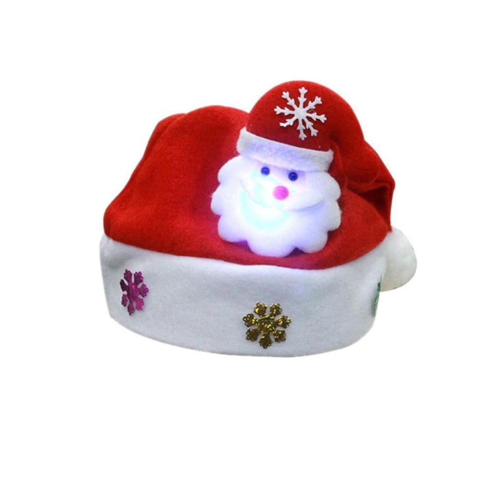 HLHN LED Weihnachtsmann Hüte Kinder Erwachsene Weihnachten Rentier Schneemann Geschenk Red Mützen