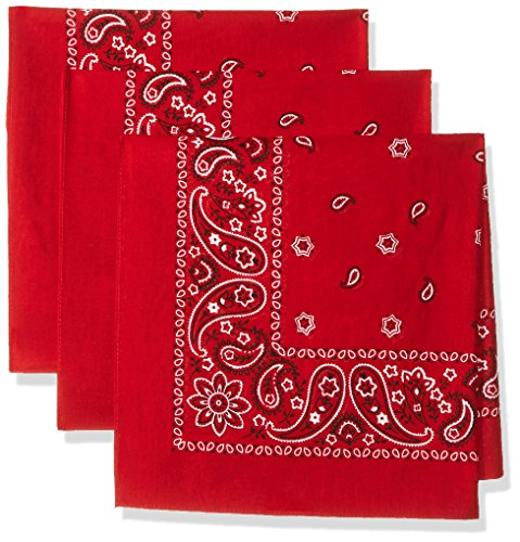 Levi's Men's 3 Pack 100% Cotton Bandana Headband Gift Sets, Red, One Size ()