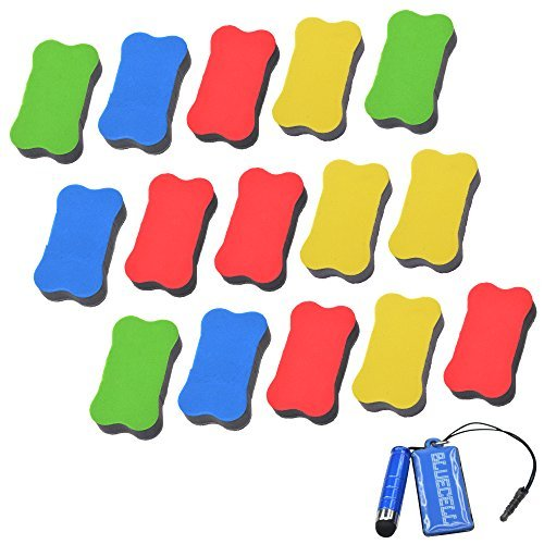 Magnetic Marker Pack (BCP Pack of 15pcs Random Color Magnetic Small Whiteboard Dry Erasers - 2 3/4 x 1 9/16 Inches)