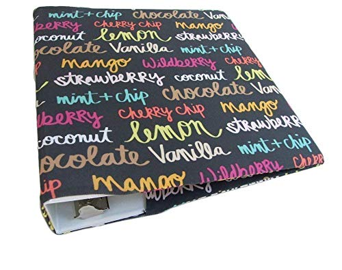 Ring 3 Binder Covers - 3 Ring Binder Cover in ICE CREAM FLAVORS Stretch, Fabric Binder Cover for 2-3 inch Wide Binder, Recipe Binder Cover