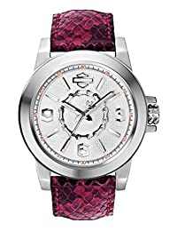 Bulova 76L172 Timepieces Women's Quartz Analog Watch with Silver White Dial and Fuchsia Leather Strap