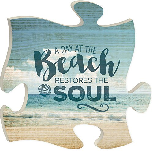 Day at the Beach Restores the Soul 12 x 12 Wall Hanging Puzzle Piece Plaque