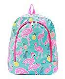 Flamingo Pineapple Canvas Backpack Handbag (Hot Pink)