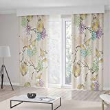 TecBillion Door Curtain,Lantern for Living Room,Colorful Origami Cranes Paper Lanterns with Branches and Flowers Culture Decorative,103Wx108L Inches