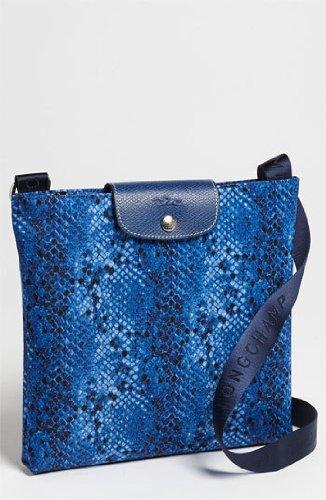 a8562dcb539c Image Unavailable. Image not available for. Color  Longchamp Le Pliage Python  Cross Body Indigo Blue Bag Leather ...